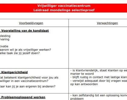 Hoe kies je de vrijwilligers voor jouw vaccinatiecentrum?